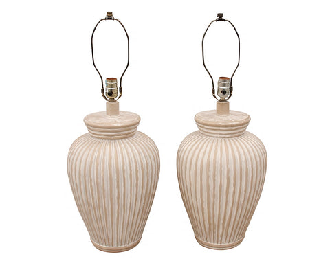 Rustic Fluted Terracotta Lamps - a Pair