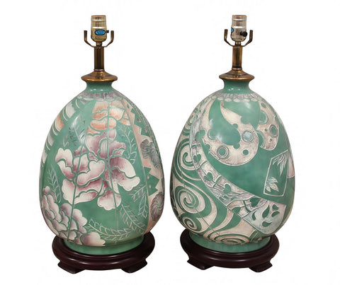1960s Chinoiserie Carved Relief Ceramic Lamps- A Pair