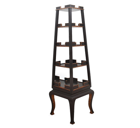 Imported Chinese Black and Gold Tower Etagere