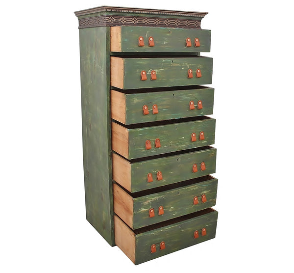 Distressed Green Tower Chest