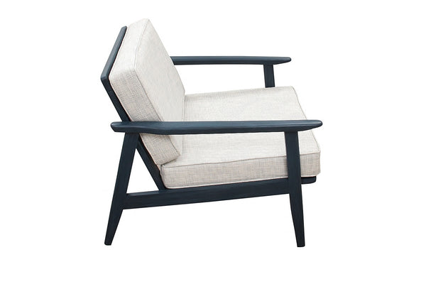 Mid Century Painted Navy Lounge Chairs - a Pair