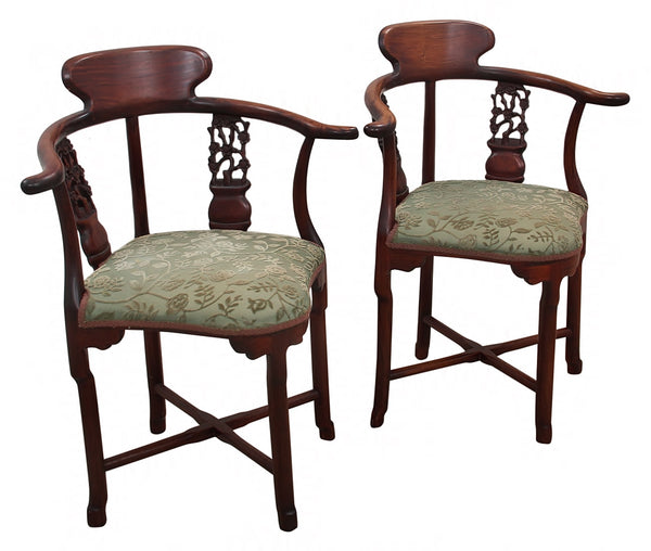 Early 20th Century Antique Solid Rosewood Chinoiserie Corner Chairs- a Pair