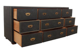 Solid Wood Faux Leather Wrapped Dresser