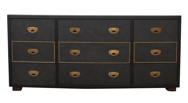 Solid Wood Faux Leather Wrapped Drexel Dresser