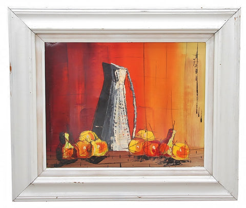 Mid Century Unsigned Oil on Canvas Still Life