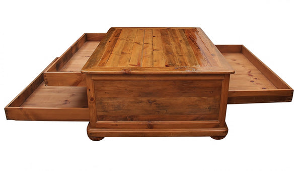 Solid Pine Farm House Coffee Table With Storage