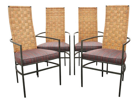 Modern Rattan and Metal Dining Chairs- Set of Four