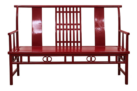 "Modern Maria Yee Wooden Chinois Bench Painted ""Classic Burgundy"""