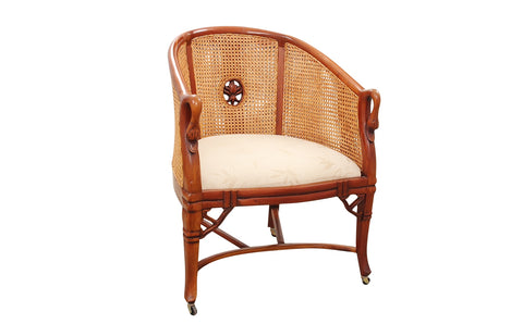 Carved Swan Double Caned Barrel Back Chair