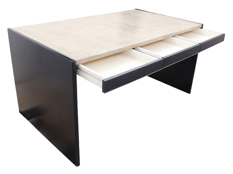 Solid wood and concrete modernist desk
