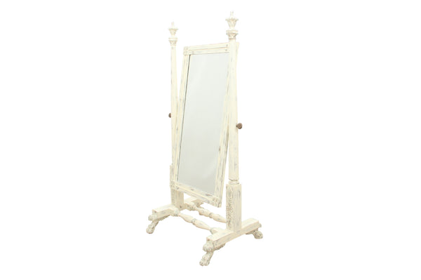 Solid Wood Carved Cheval Mirror in Antique White