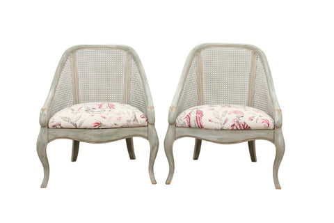 Vintage French Provincial Style Caned Back Bergeres- a Pair