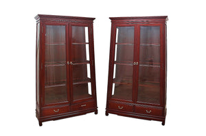 1970s Ming Style Solid Rosewood Bookcases - a Pair