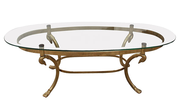 LeBarge Brass Swan Neck Coffee Table