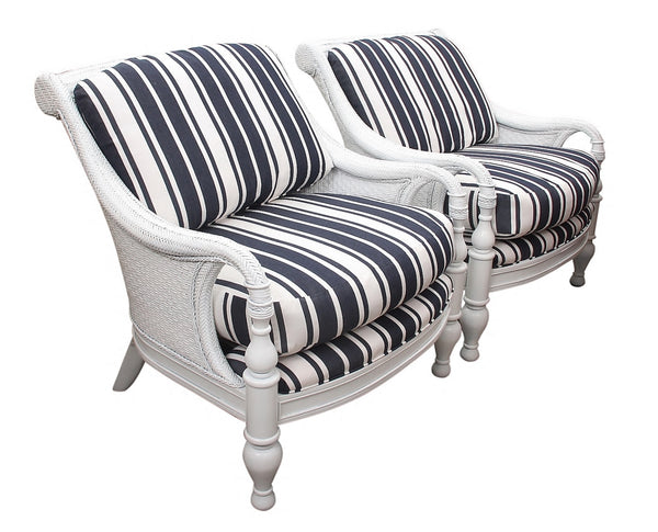 Wicker Nautical Lounge Chairs- a Pair