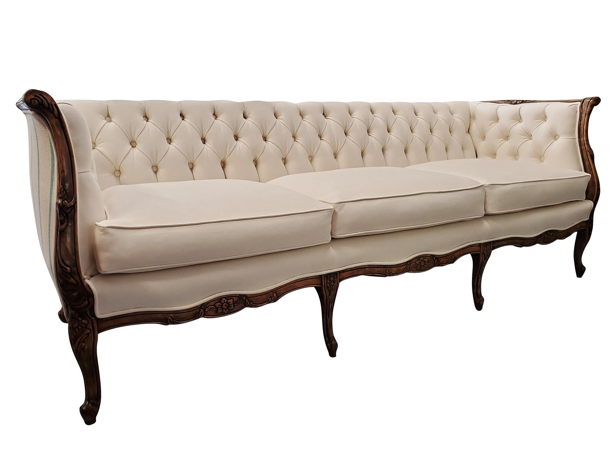Carved Antique French Style Tufted Sofa hero