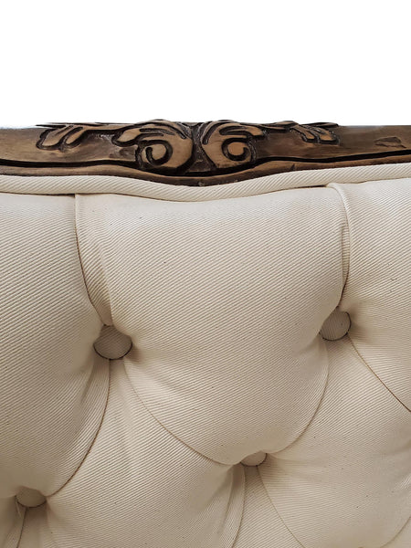 Carved Antique French Style Tufted Sofa accent