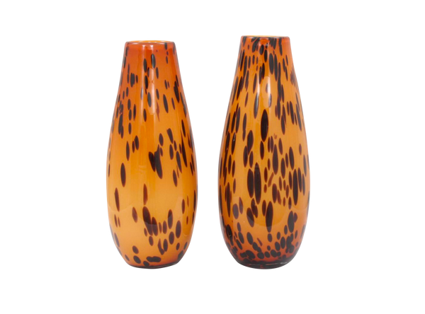 Contemporary Spotted Leopard Hand Blown Glass Vases - a Pair