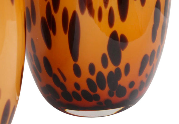 Contemporary Spotted Leopard Hand Blown Glass Vases