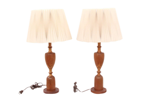 Mid-Century Modern Wooden Lamps With Oragami Shades - a Pair