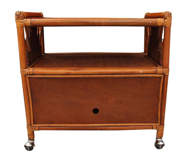 Rolling Bamboo Bar Cart Back