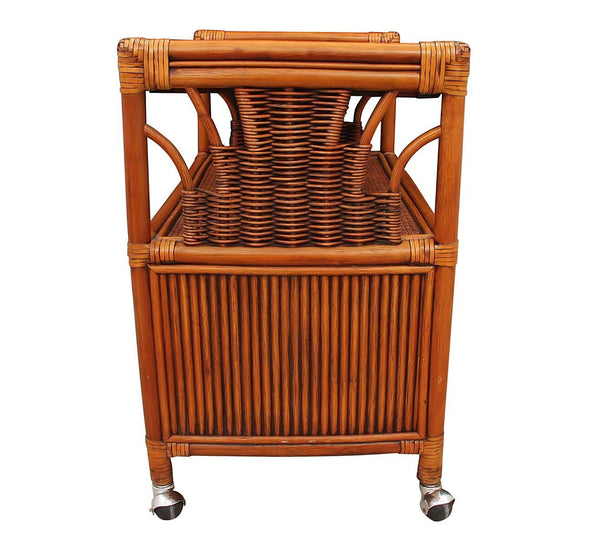 Rolling Bamboo Bar Cart Side