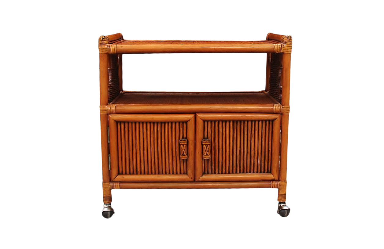 Rolling Bamboo Bar Cart