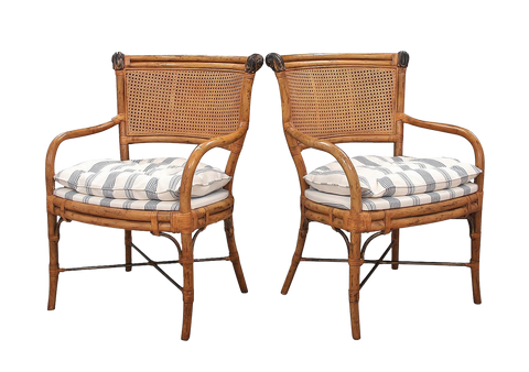 Rustic Ferguson Copeland Caned Back Bamboo Chairs