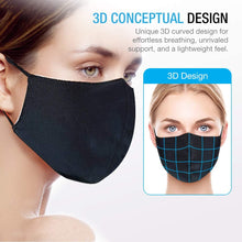 Load image into Gallery viewer, Maxboost Fabric Face Mask Pack of 3 or 6 - Soft Elastic Earloops, 2 Layer Dust Protection, Comfortable Collection for Men, Women, Washable and Reusable - Black (Unisize M, Large)