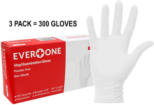 Vinyl Examination Gloves [3 Pack] (300 Gloves)