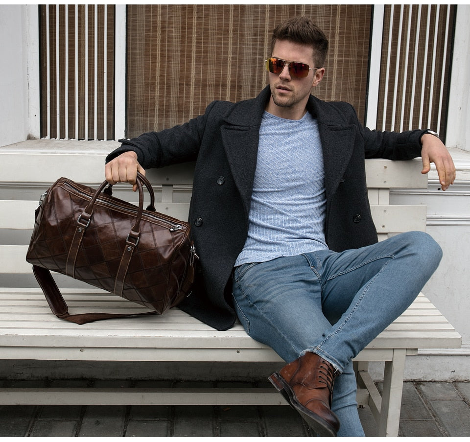 Men's Genuine Leather Duffle Luggage Travel Bags
