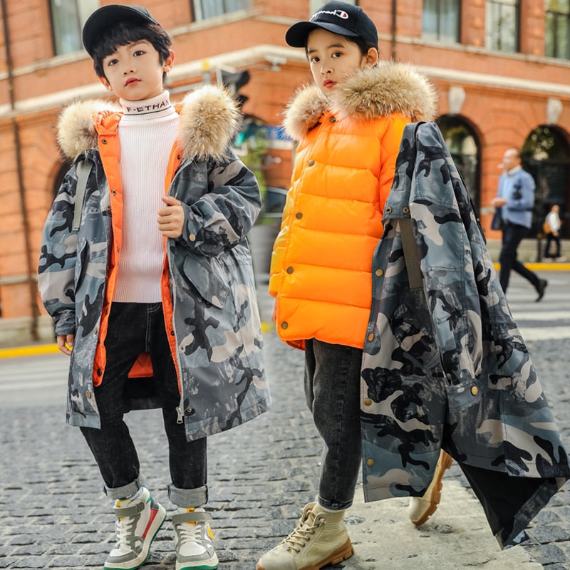 2019 Boys Camouflage Duck Down Jackets Coat Outerwear Overcoat