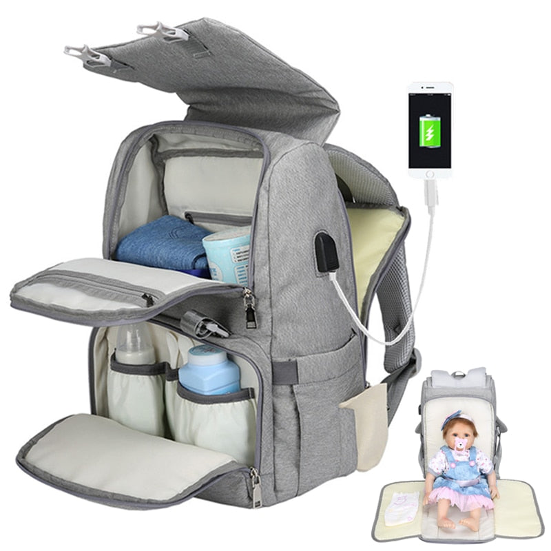 Mummy Maternity Baby Diaper Bags Backpack and USB Waterproof Nurse Changing Nappy Bag