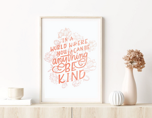 """Be Kind"" Bible Print A3"