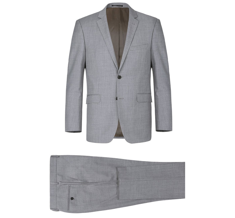 508-5 Men's Grey 2-Piece Notch Lapel Wool Suit