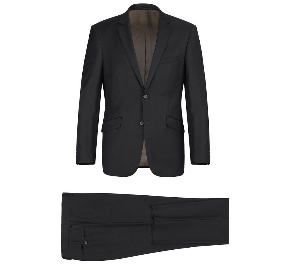 508-1 Men's Black 2-Piece Notch Lapel Wool Suit
