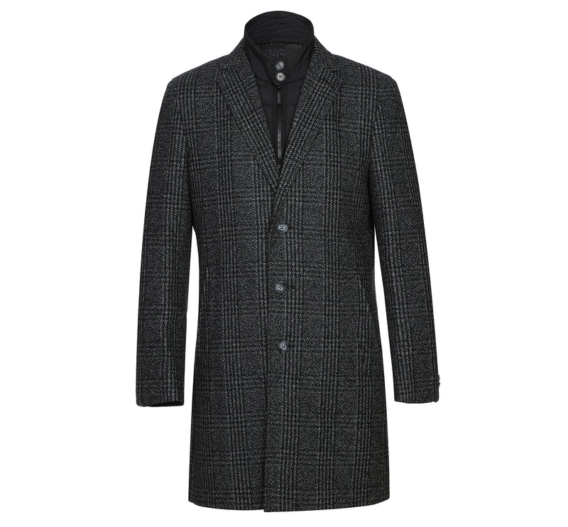 English Laundry43-18-095 Mens Wool Blend Black/White Windowpane 3/4 Length Winter Coat with Neck Liner