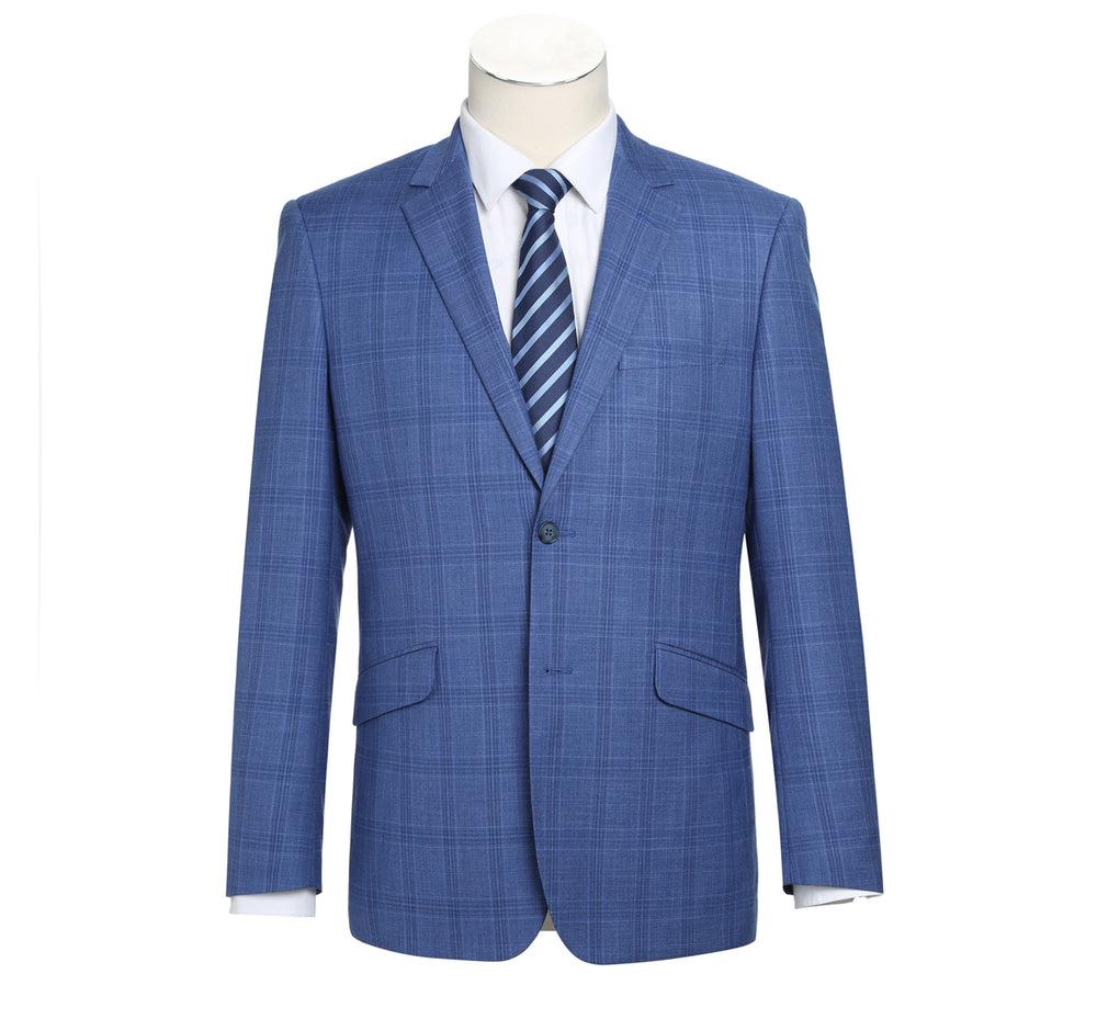 293-10 Men's 2-Piece Slim Fit Windowpane Check Dress Stretch Suit