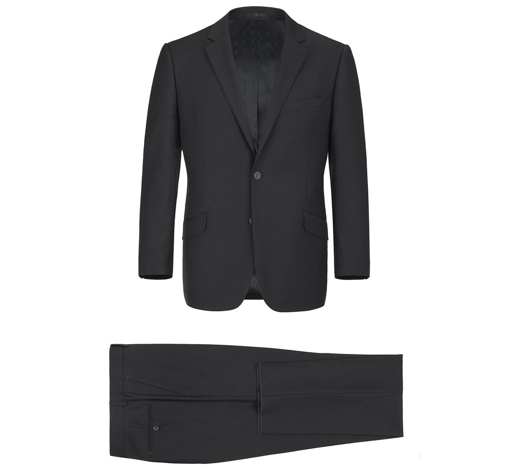 201-1 Men's Black 2-Piece Single Breasted Notch Lapel Suit