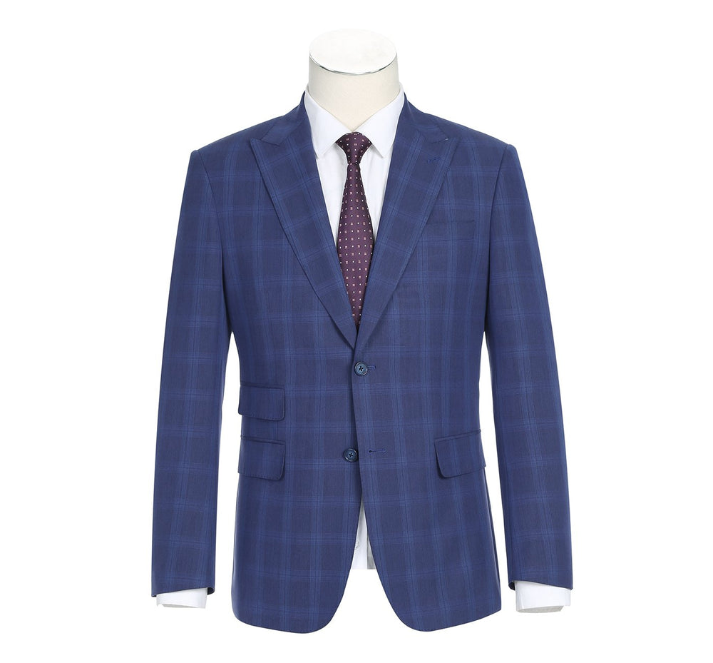 42-52-412English Laundry Men's Slim-Fit 3-Piece Single Breasted Plaid Suit