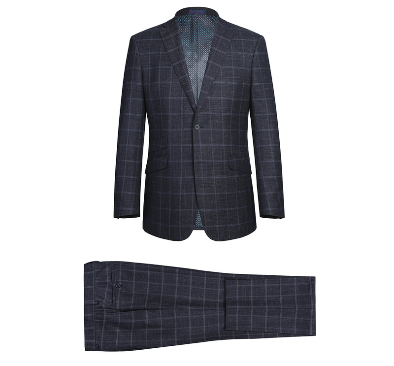 32-52-900English Laundry Men's 2-Piece Slim Fit Suit Purple Plaid Check Dress Suit