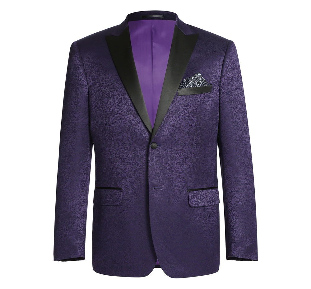 290-3 Men's Slim Fit Peak Lapel Tuxedo Blazer With Embroidered Pattern