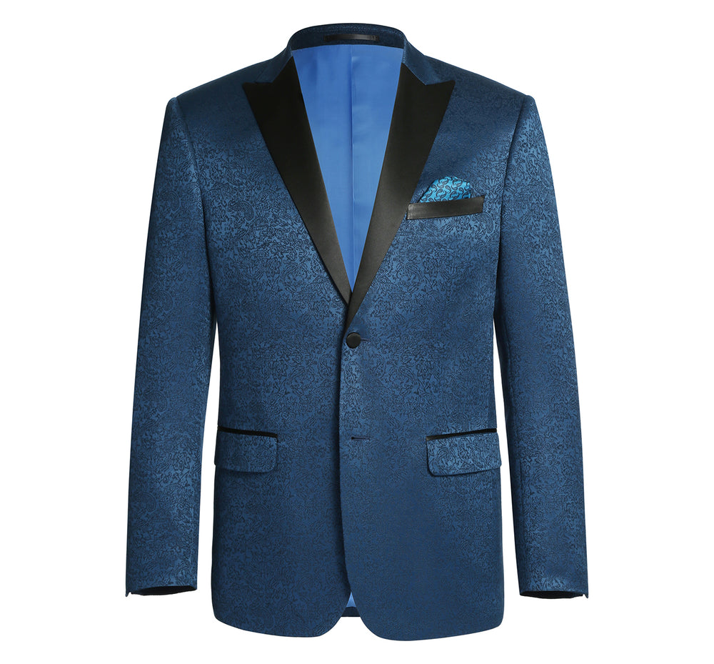 290-4 Men's Slim Fit Peak Lapel Tuxedo Blazer With Embroidered Pattern