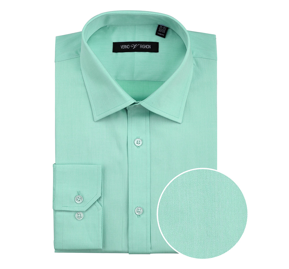 C121432 Men's Slim Fit Long Sleeve Spread Collar Solid Cotton Dress Shirt