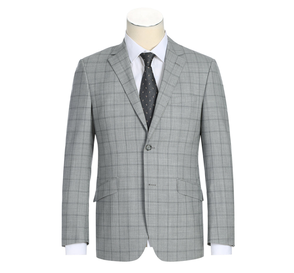 580-1 Men's Two Piece Slim Fit 100% Wool Windowpane Check Dress Suit