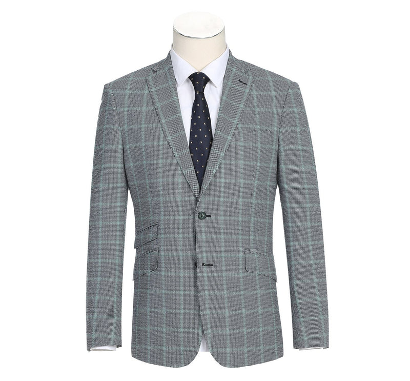 42-15-002English Laundry Men's Slim-Fit Single Breasted Windowpane Stretch Suit