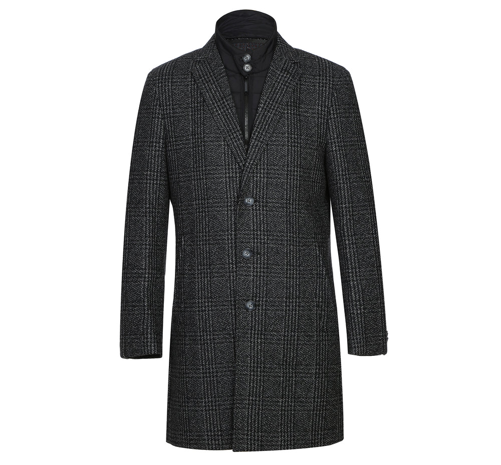 43-18-095 Mens Wool Blend Black/White Windowpane 3/4 Length Winter Coat with Neck Liner
