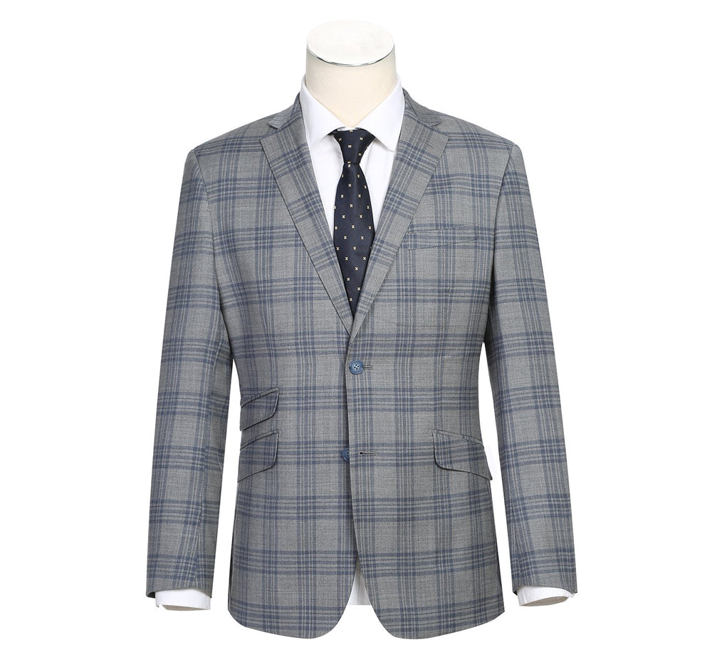 42-58-092English Laundry Men's Slim-Fit Single Breasted Windowpane Stretch Suit