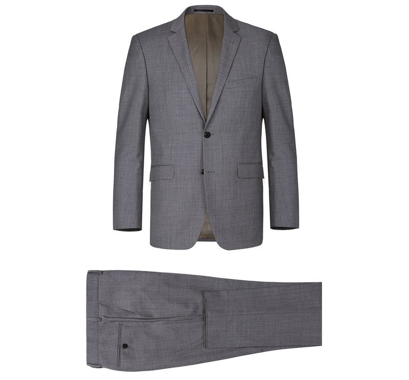 508-3 Men's Dark Grey 2-Piece Notch Lapel Wool Suit