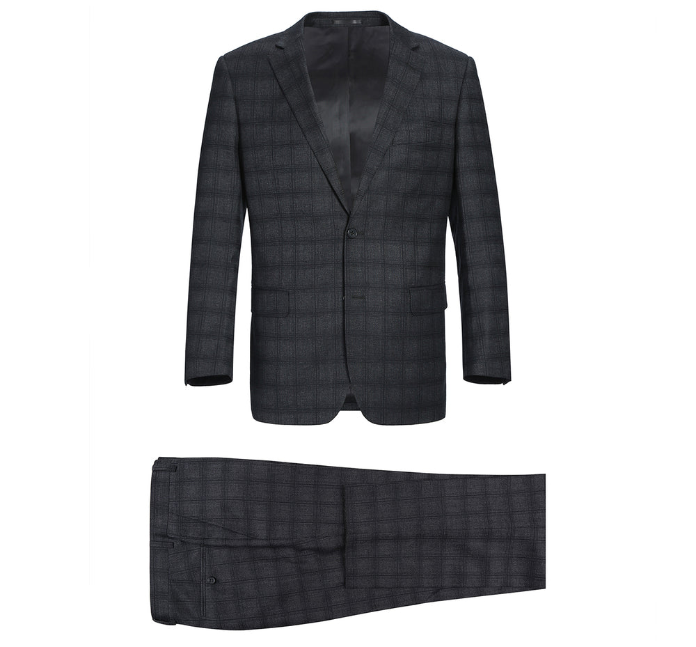 555-4 Men's 2-Piece Classic Fit 100% Premium Wool Check Suit